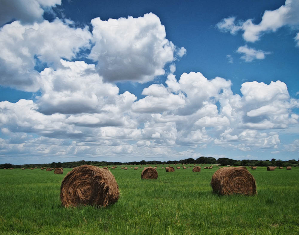 Haybales and Clouds