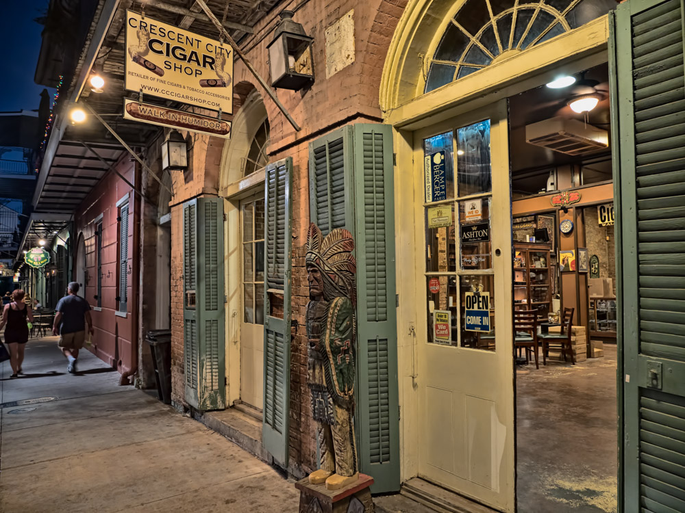 Crescent City Cigar Shop at Night